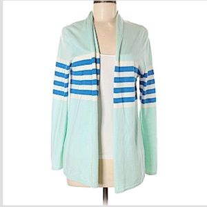 Talbots Cashmere Long Sleeve Open Striped Cardigan